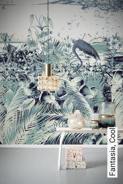 Fantasia,-Cool-Blumen-Vögel-FotoTapeten-Blau-Weiß-mint