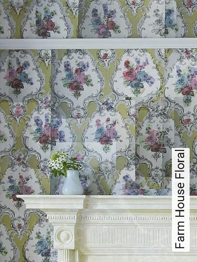 Farm-House-Floral-Ornamente-Blumen-Moderne-Muster-Gelb-Multicolor