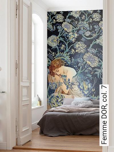 Femme-DOR,-col.-7-Blumen-Figuren-Gesichter-Klassische-Muster-FotoTapeten-Jugendstil-Multicolor