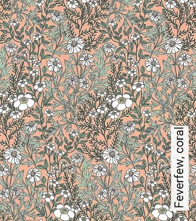 Feverfew,-coral-Blumen-Blätter-Florale-Muster-Grün-Weiß