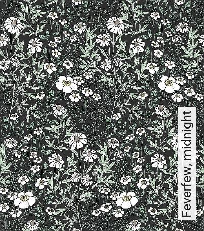 Feverfew,-midnight--Blumen-Blätter-Florale-Muster-Grün-Grau-Schwarz-Weiß