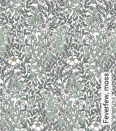 Feverfew,-moss-Blumen-Blätter-Florale-Muster-Grün-Grau