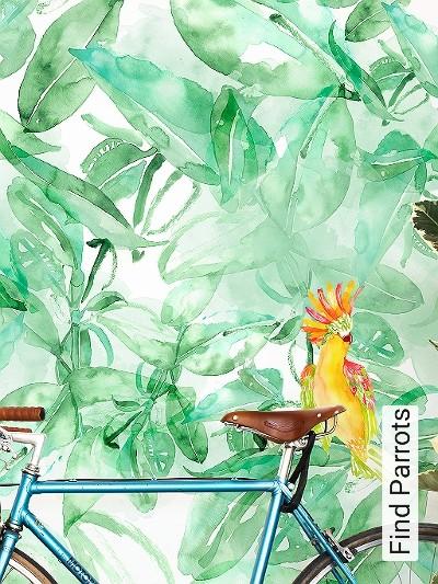 Find-Parrots-Blätter-Vögel-FotoTapeten-Grün-Orange-Hellgrün-Weiß