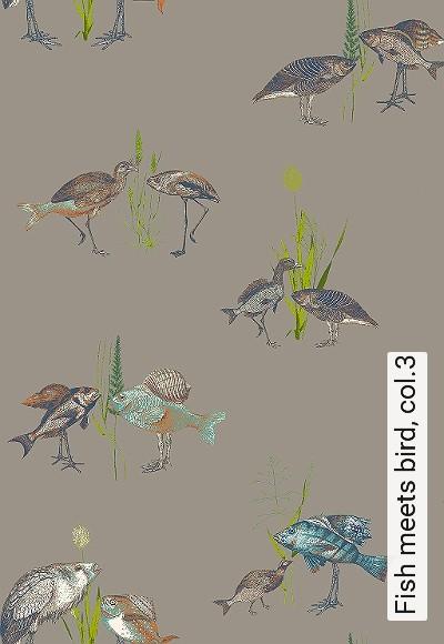 Fish-meets-bird,-col.3-Tiere-Vögel-Fische-Fauna-Moderne-Muster-Grün-Grau-Braun-Anthrazit