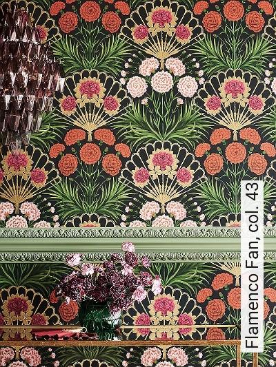 Flamenco-Fan,-col.-43-Blumen-Blätter-Florale-Muster-Moderne-Muster-Multicolor
