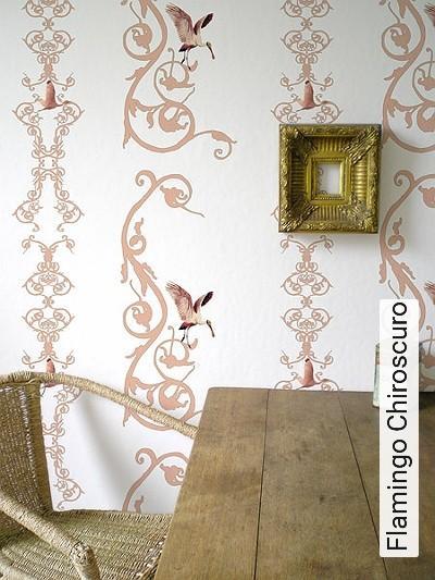 Flamingo-Chiroscuro-Ornamente-Vögel-Flamingos-Klassische-Muster-Rosa-Weiß