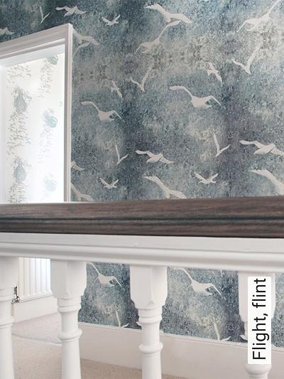 Flight,-flint-Vögel-Moderne-Muster-Blau-Grau-Olive-Weiß