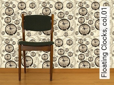 Floating-Clocks,-col.01-Uhren-Moderne-Muster-Braun-Creme