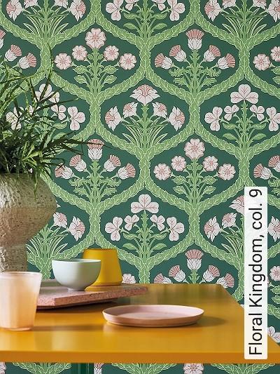 Floral-Kingdom,-col.-9-Blumen-Klassische-Muster-Florale-Muster-Grün-Rosa-Creme