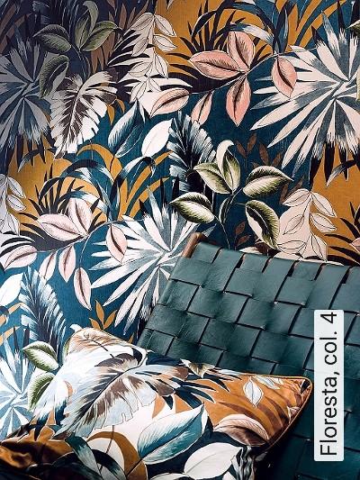 Floresta,-col.-4-Blumen-Blätter-Florale-Muster-Rosa-Anthrazit-Creme-Ocker-petrol