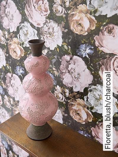 Floretta,-blush/charcoal-Blumen-Florale-Muster-Barock-Rosa-Anthrazit-Weiß