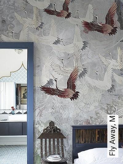 Fly-Away,-M-Tiere-Vögel-Fauna-Moderne-Muster-FotoTapeten-Rot-Grau-Braun-Weiß