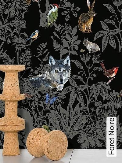 Foret-Noire-Blumen-Tiere-Blätter-Großmotiv-Fauna-FotoTapeten-Grau-Schwarz-Multicolor