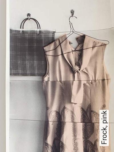 Frock,-pink-Kleidung-Moderne-Muster-Creme-Multicolor