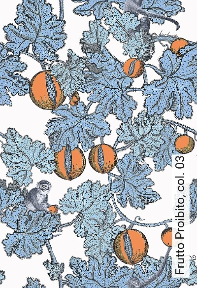 Frutto-Proibito,-col.-03-Tiere-Blätter-Fauna-Florale-Muster-Blau-Orange-Weiß