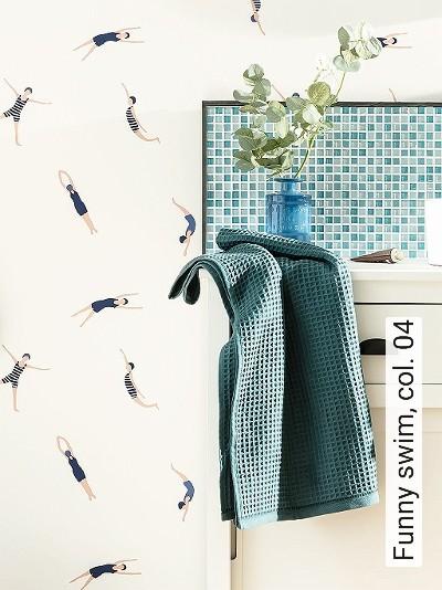 Funny-swim,-col.-04-Figuren-Moderne-Muster-KinderTapeten-Blau-Weiß-Creme