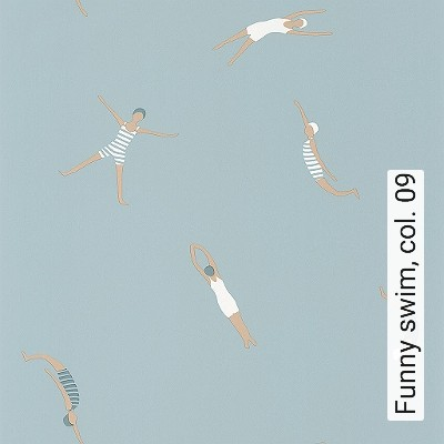Funny-swim,-col.-09-Figuren-Moderne-Muster-KinderTapeten-Blau-Creme-Hellblau