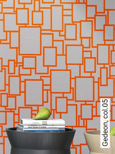 Gedeon,-col.05-Quadrate/Rechtecke-Retro-Retro-Muster-Gold-Braun-Orange