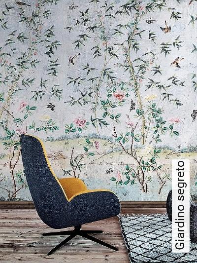 Giardino-segreto-Blumen-Tiere-Blätter-Vögel-Äste-Asia-Fauna-Florale-Muster-FotoTapeten-Multicolor