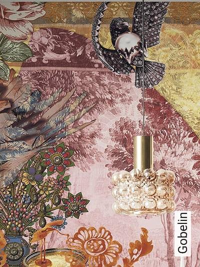 Gobelin-Tiere-Bäume-Struktur-Florale-Muster-FotoTapeten-Ocker-Multicolor