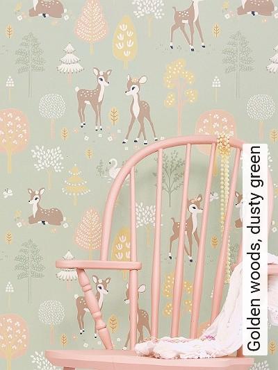 Golden-woods,-dusty-green-Tiere-Bäume-KinderTapeten-Braun-Rosa-Hellgrün-Weiß-Ocker