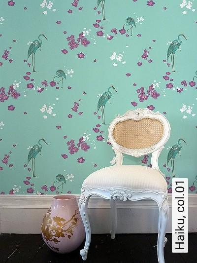 Haiku,-col.01-Blumen-Vögel-Lila-Türkis-Weiß-Pink