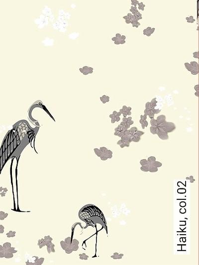 Haiku,-col.02-Blumen-Vögel-Grau-Anthrazit-Creme