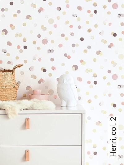 Henri,-col.-2-Kreise-Moderne-Muster-KinderTapeten-Grau-Rosa-Creme