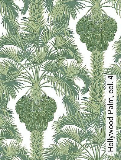 Hollywood-Palm,-col.-4-Blumen-Blätter-Florale-Muster-Grün-Gold-Creme