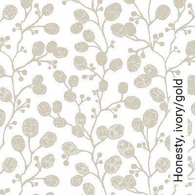 Honesty,-ivory/gold-Blätter-Äste-Florale-Muster-Moderne-Muster-Gold-Weiß