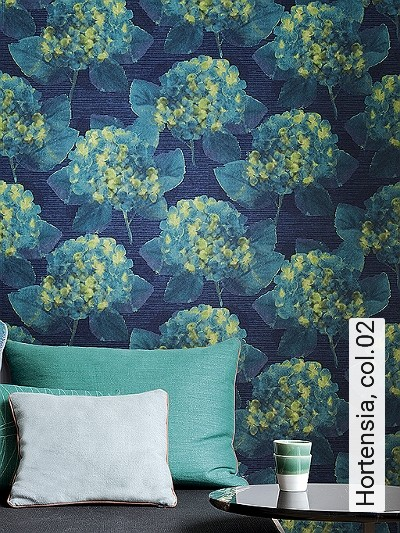 Hortensia,-col.02-Blumen-Pixelmotiv-Moderne-Muster-Grün-Blau-Türkis-Schwarz