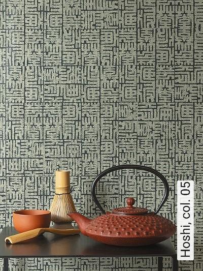 Hoshi,-col.-05-Asia-Graphisch-Grafische-Muster-Anthrazit-Hellgrün