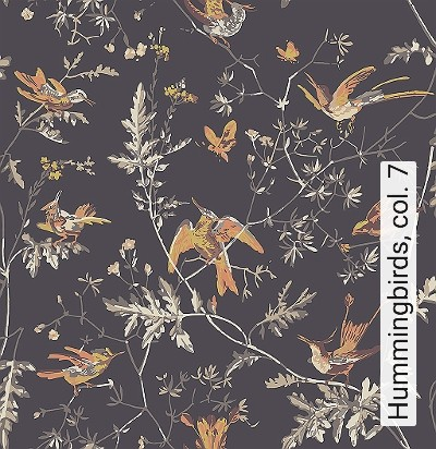 Hummingbirds,-col.-7-Blumen-Tiere-Vögel-Fauna-Florale-Muster-Braun-Orange-Creme-Ocker