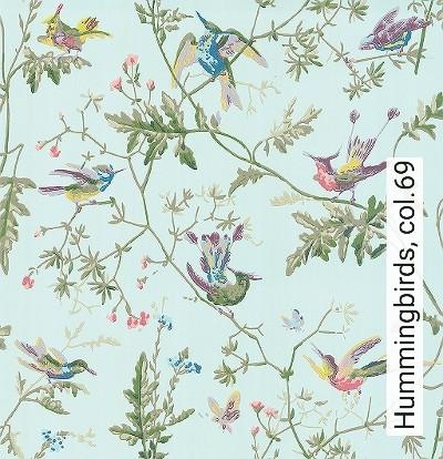 Hummingbirds,-col.69-Blumen-Tiere-Vögel-Fauna-Florale-Muster-Multicolor-mint