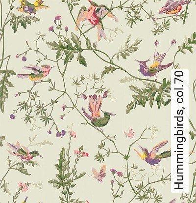 Hummingbirds,-col.70-Blumen-Tiere-Vögel-Fauna-Florale-Muster-Hellgrün-Multicolor