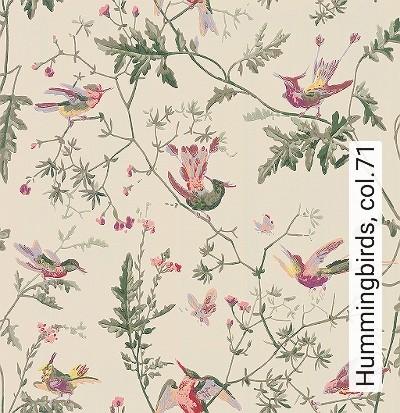Hummingbirds,-col.71-Blumen-Tiere-Vögel-Fauna-Florale-Muster-Creme-Multicolor