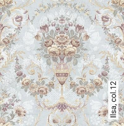 Ilsa,-col.12-Ornamente-Blumen-Klassische-Muster-Grün-Braun-Weiß-Creme-Hellblau