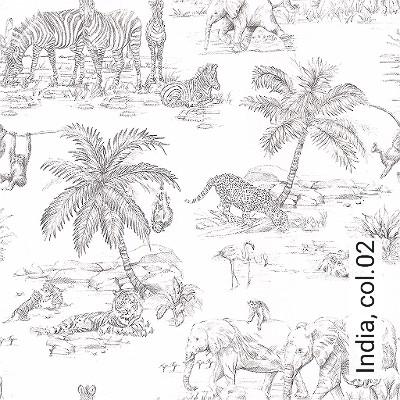 India,-col.02-Tiere-Zeichnungen-Fauna-Anthrazit-Weiß