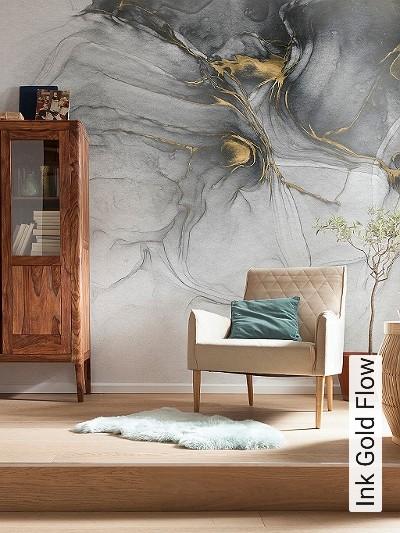 Ink-Gold-Flow-Stein-Marmor-Moderne-Muster-FotoTapeten-Gold-Anthrazit-Weiß