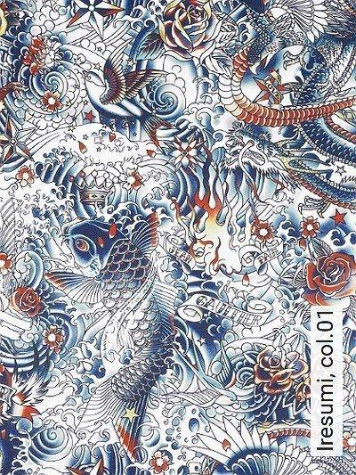 Iresumi,-col.01-Tiere-Vögel-Zeichnungen-Sterne-Moderne-Muster-Blau-Orange-Schwarz-Weiß