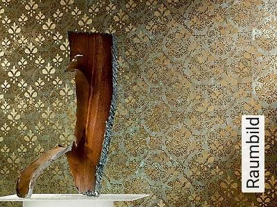 Iron-and-Gold-I-Ornamente-Patina-Metallic-Moderne-Muster-Textil-&-NaturTapeten-Gold-Braun-Hellgrün-Bronze