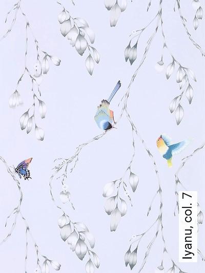 Iyanu,-col.-7-Blumen-Tiere-Blätter-Vögel-Äste-Fauna-Florale-Muster-Grau-Multicolor