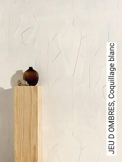 JEU-D-OMBRES,-Coquillage-blanc-Gegenstände-Moderne-Muster-Creme