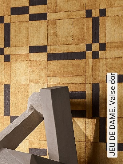 JEU-DE-DAME,-Valse-dor-Graphisch-Moderne-Muster-Textil-&-NaturTapeten-Gelb-Anthrazit