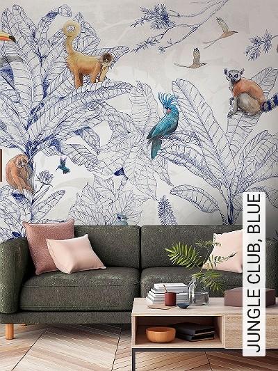 JUNGLE-CLUB,-BLUE-Tiere-Blätter-Vögel-Fauna-Florale-Muster-FotoTapeten-Multicolor