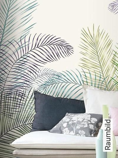 Jardin-botanique-Blätter-FotoTapeten-Grün-Lila-Weiß-petrol