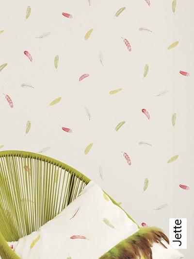Jette-Federn-Zeichnungen-KinderTapeten-Rot-Grün-Weiß