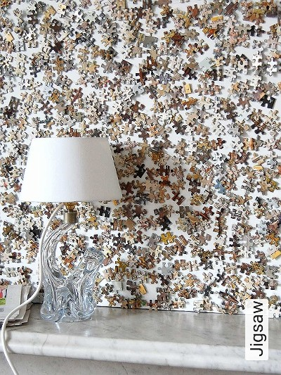 Jigsaw-Moderne-Muster-Weiß-Multicolor