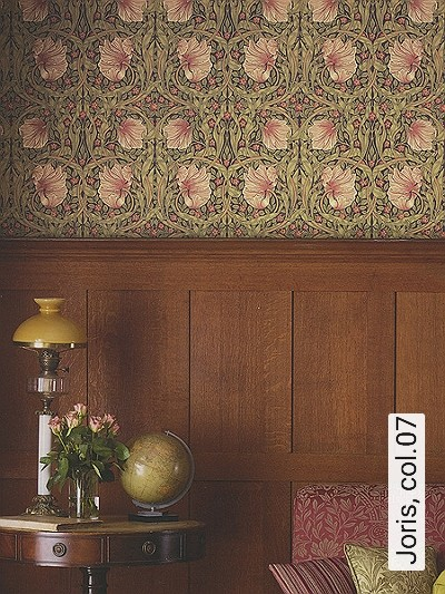 Joris,-col.07-Blumen-Blätter-Klassische-Muster-Jugendstil-Grün-Lila-Creme-Pink
