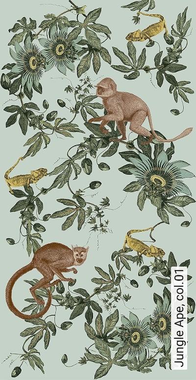Jungle-Ape,-col.01-Tiere-Blätter-Fauna-FotoTapeten-Grün-Hellgrün-Ocker-Hellbraun